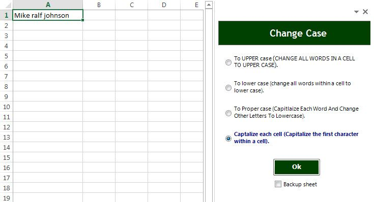 Excel capitalize