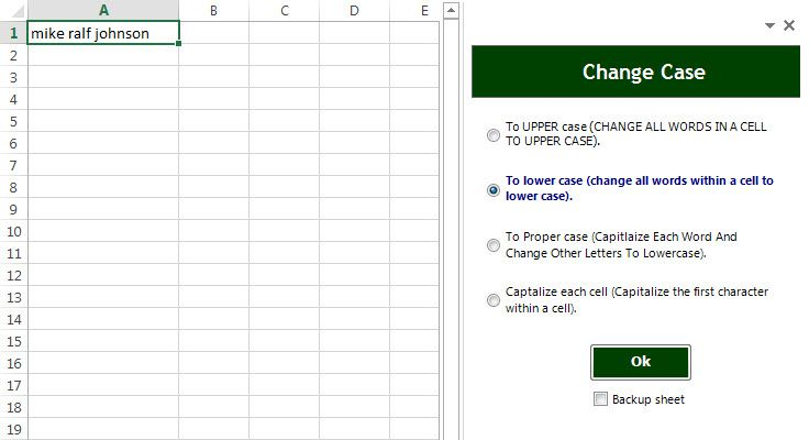 Excel lower case