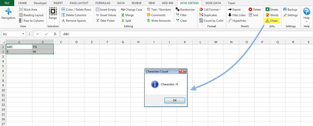 Excel Count Chars