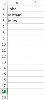 Excel empty rows