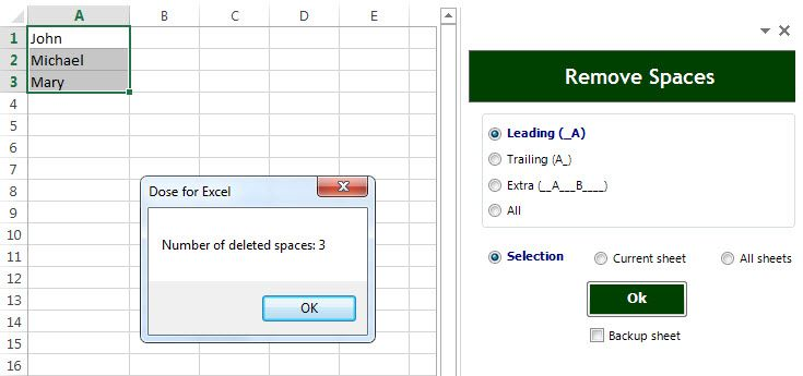 Excel leading spaces